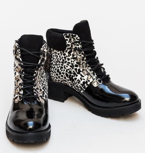 Botine Jurdi Leopard - Botine dama - Botine cu toc gros