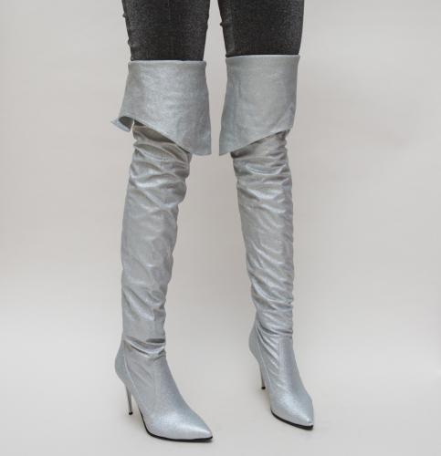 Cizme Ferdin Argintii - Cizme dama - Cizme cu toc subtire