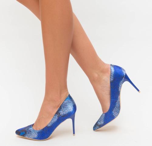 Pantofi Aba Albastri - Pantofi eleganti - Pantofi cu toc subtire