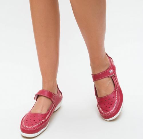 Pantofi Casual Confort Rosii - Incaltaminte casual femei - Pantofi casual