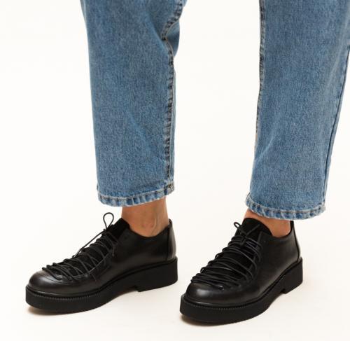 Pantofi Casual Deri Negri - Incaltaminte casual femei - Pantofi casual