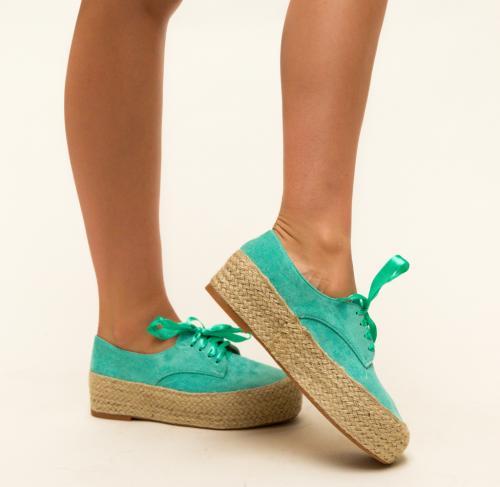 Pantofi Casual Kiran Turcoaz - Incaltaminte casual femei - Casual cu platforma