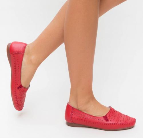 Pantofi Casual Pastio Rosii - Incaltaminte casual femei - Mocasini de dama