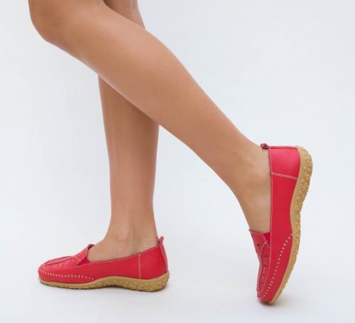 Pantofi Casual Roma Rosii - Incaltaminte casual femei - Mocasini de dama