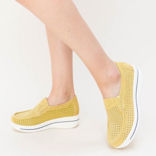Pantofi Casual Sista Galbeni - Incaltaminte casual femei - Mocasini de dama