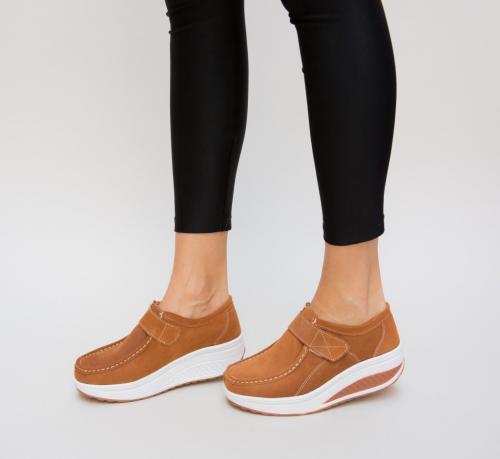 Pantofi Casual Tinna Camel - Incaltaminte casual femei - Mocasini de dama