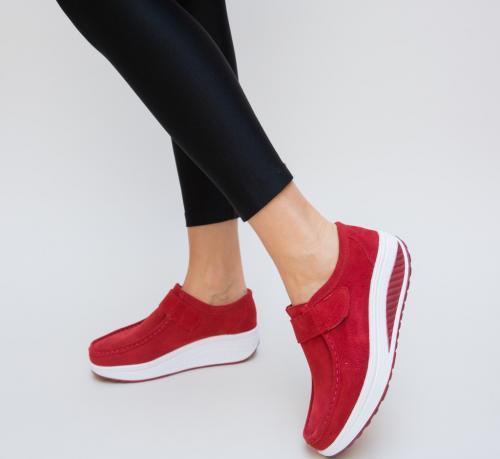 Pantofi Casual Tinna Rosii - Incaltaminte casual femei - Mocasini de dama