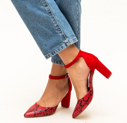 Pantofi Cupra Rosii - Pantofi eleganti - Pantofi cu toc gros