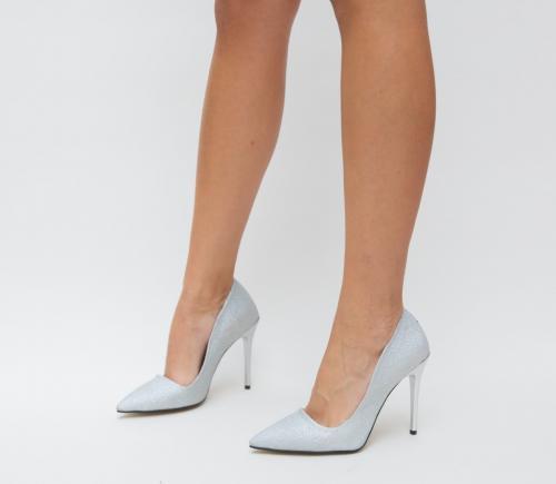 Pantofi Demas Argintii - Pantofi eleganti - Pantofi cu toc subtire
