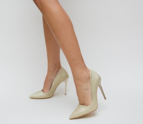 Pantofi Demas Aurii - Pantofi eleganti - Pantofi cu toc subtire