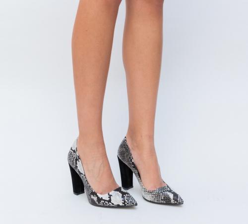 Pantofi Elda Albi - Pantofi eleganti - Pantofi cu toc gros