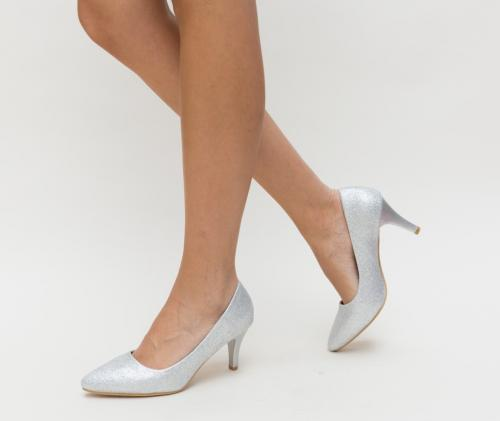 Pantofi Foga Argintii - Pantofi eleganti - Pantofi cu toc subtire