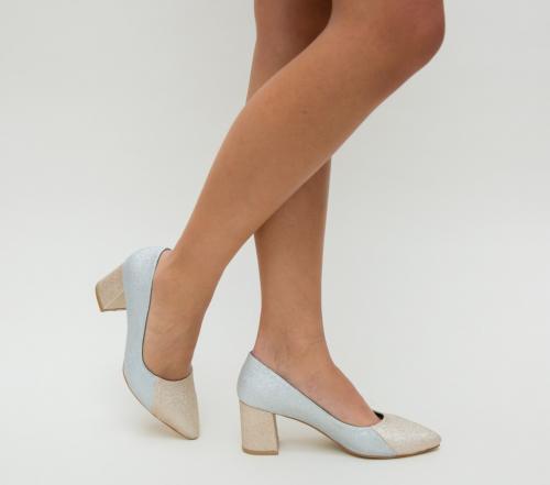 Pantofi Foto Argintii - Pantofi eleganti - Pantofi cu toc gros