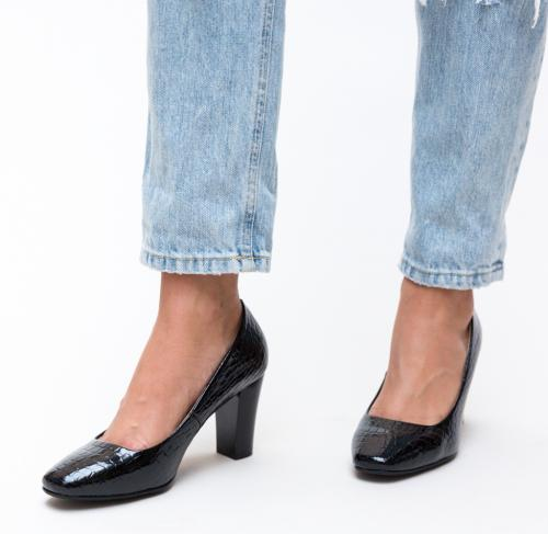 Pantofi Fyn Negri 2 - Pantofi eleganti - Pantofi cu toc gros