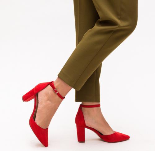 Pantofi Genesis Rosii - Pantofi eleganti - Pantofi cu toc gros