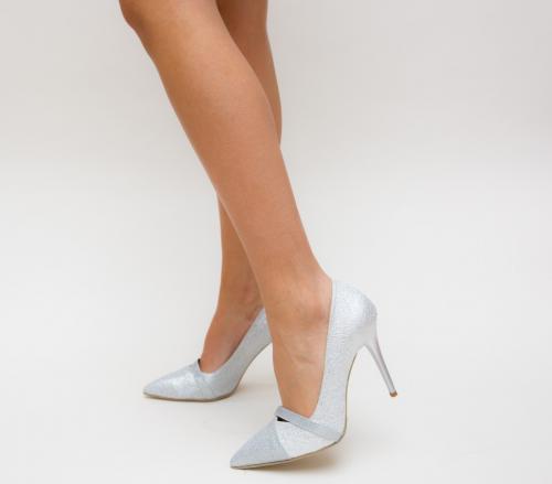 Pantofi Grigor Argintii - Pantofi eleganti - Pantofi cu toc subtire
