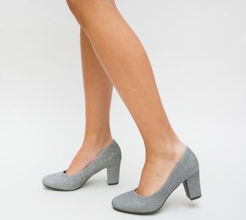 Pantofi Guvet Gri - Pantofi eleganti - Pantofi cu toc gros