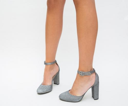 Pantofi Justa Gri - Pantofi eleganti - Pantofi cu toc gros