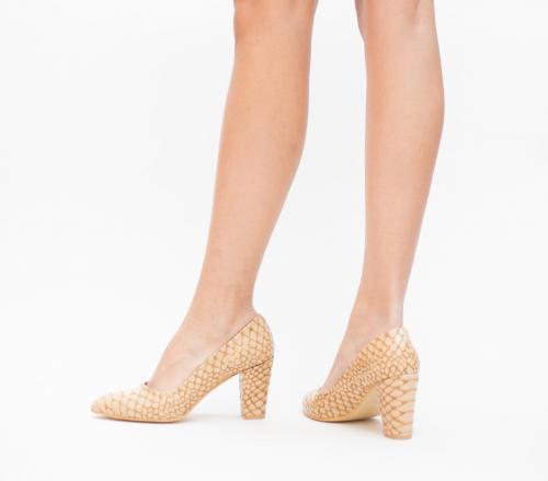 Pantofi Kroko Khaki - Pantofi eleganti - Pantofi cu toc gros