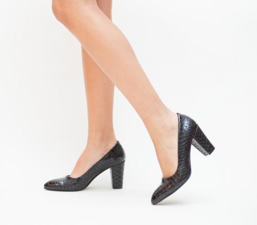 Pantofi Kroko Negri - Pantofi eleganti - Pantofi cu toc gros