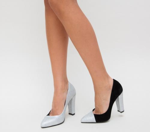 Pantofi Mikael Argintii - Pantofi eleganti - Pantofi cu toc gros