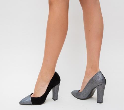 Pantofi Mikael Gri - Pantofi eleganti - Pantofi cu toc gros