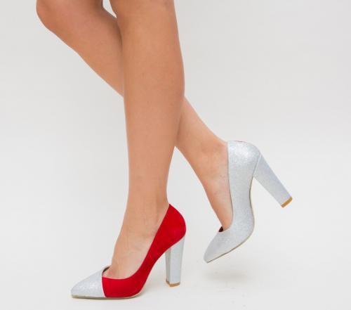 Pantofi Mikael Rosii - Pantofi eleganti - Pantofi cu toc gros