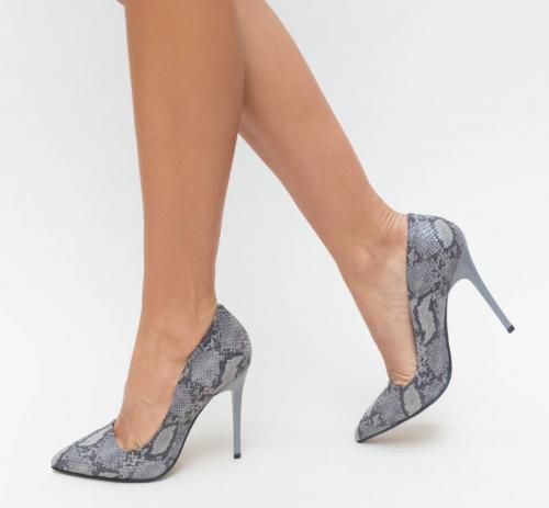 Pantofi Misy Gri - Pantofi eleganti - Pantofi cu toc subtire
