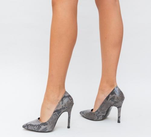 Pantofi Salvy Gri - Pantofi eleganti - Pantofi cu toc subtire