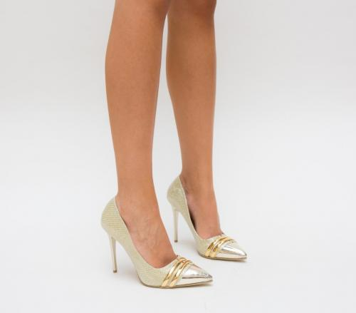 Pantofi Sanex Aurii - Pantofi eleganti - Pantofi cu toc subtire