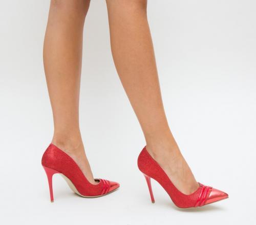 Pantofi Sanex Rosii - Pantofi eleganti - Pantofi cu toc subtire