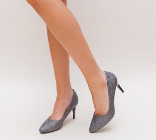 Pantofi Sefin Gri - Pantofi eleganti - Pantofi cu toc subtire