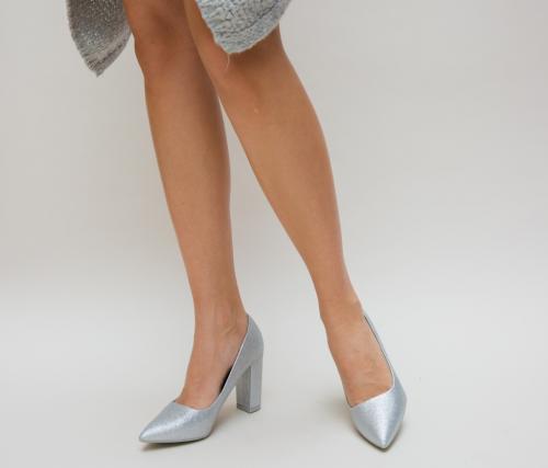Pantofi Simera Argintii - Pantofi eleganti - Pantofi cu toc gros
