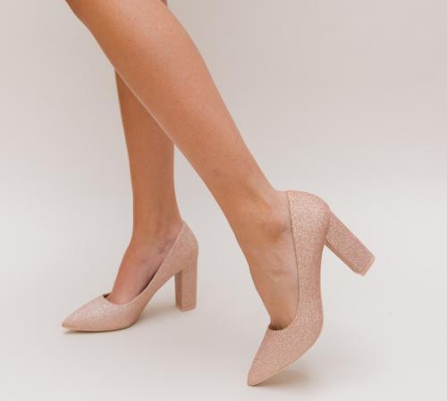 Pantofi Simera Aurii 2 - Pantofi eleganti - Pantofi cu toc gros