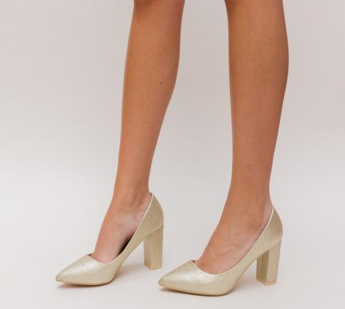 Pantofi Simera Aurii - Pantofi eleganti - Pantofi cu toc gros