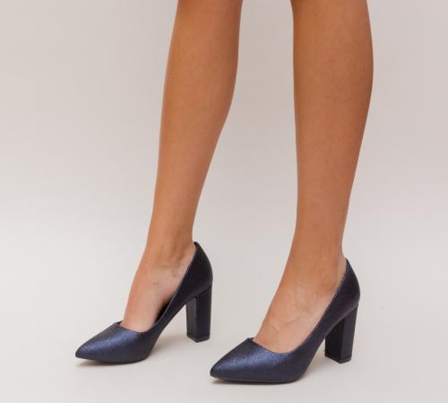 Pantofi Simera Bleumarin - Pantofi eleganti - Pantofi cu toc gros