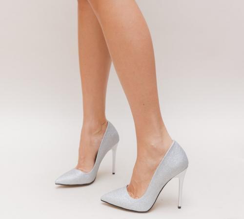 Pantofi Simero Argintii - Pantofi eleganti - Pantofi cu toc subtire