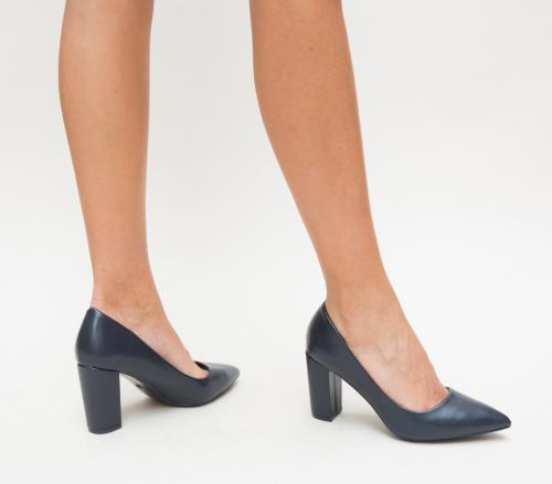Pantofi Split Bleumarin - Pantofi eleganti - Pantofi cu toc gros