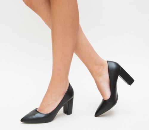 Pantofi Split Negri - Pantofi eleganti - Pantofi cu toc gros