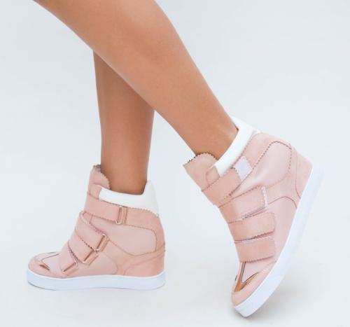 Pantofi Sport Dobest Roz - Incaltaminte sport dama - Pantofi sport cu platforma