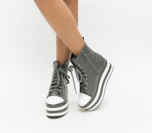 Pantofi Sport Inter Gri - Incaltaminte sport dama - Pantofi sport cu platforma