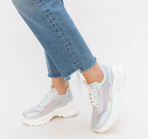 Pantofi Sport Neko Argintii - Incaltaminte sport dama - Pantofi sport cu platforma