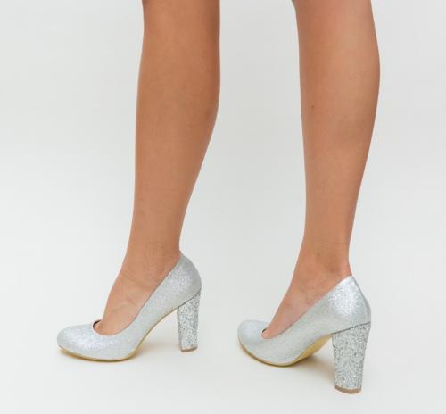 Pantofi Videla Argintii - Pantofi eleganti - Pantofi cu toc gros
