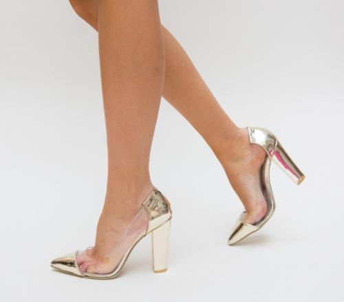 Pantofi Vlas Aurii - Pantofi eleganti - Pantofi cu toc gros