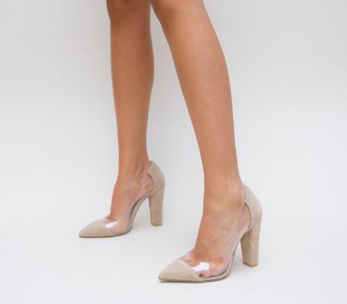 Pantofi Vlas Bej - Pantofi eleganti - Pantofi cu toc gros