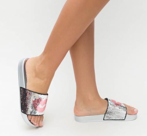 Papuci Lips Argintii 2 - Sandale dama ieftine - Sandale cu talpa joasa