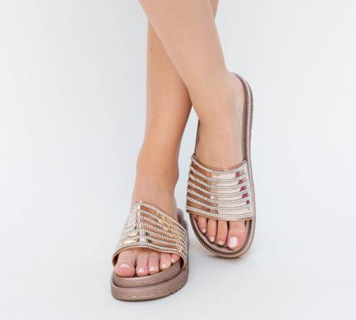 Papuci Minoda Aurii 2 - Sandale dama ieftine - Slapi
