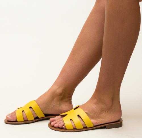 Papuci Nuala Galbeni - Sandale dama ieftine - Slapi