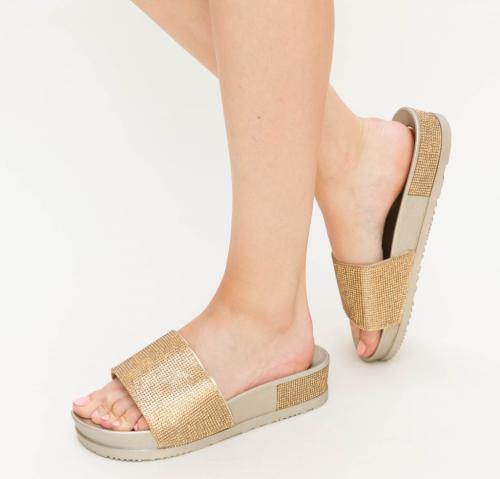 Papuci Tila Aurii - Sandale dama ieftine - Slapi