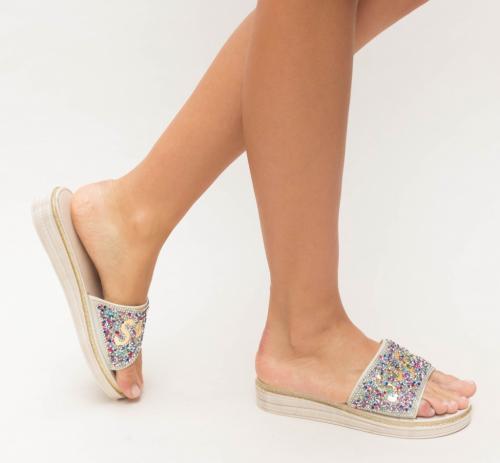 Papuci Zemel Bej - Sandale dama ieftine - Slapi